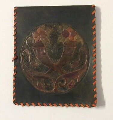 Arts And Crafts Leather Document Wallet/Holder .Embossed