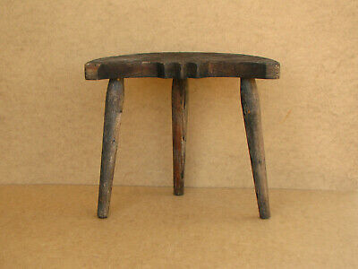 Old Antique Primitive Wooden Wood Three Legged Milking Stool Chair Rustic 20th.
