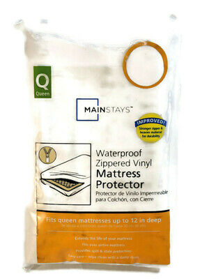 Mainstay Waterproof Zippered Vinyl Queen White Mattress Cover Free Priority Ship