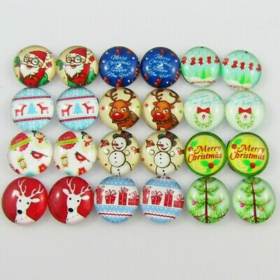 Glass Dome Christmas Cabochon 12mm Pick 10 or 20 pieces random pairs