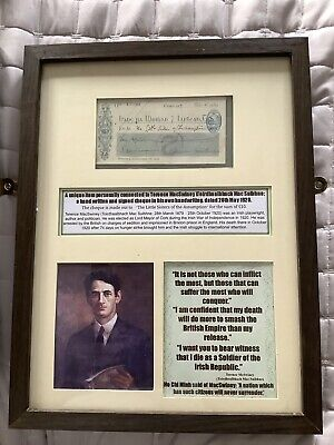 Terence Macswiney Signed framed Cheque , IRA Irish , 1916 , Michael Collins