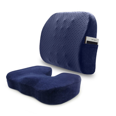 Seat Cushion Coccyx Orthopedic Memory Foam and Lumbar Support Pillow, Set of 2