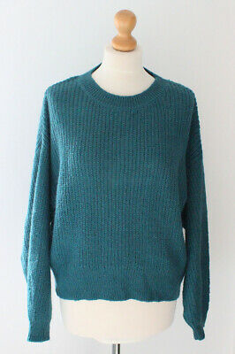 H&M Green Jumper Mohair Woolly Knitted Pullover Soft Snuggly Cosy Winter Size M