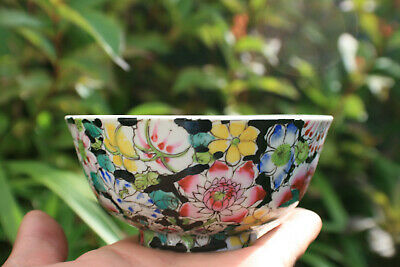 20th Century Chinese Porcelain Hand Painted Flower Bowl - Marks