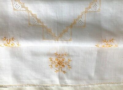 """ANTIQUE AFTERNOON TEA CLOTH, HAND-EMBROIDERED PINA CLOTH 80cm / 31 """""""