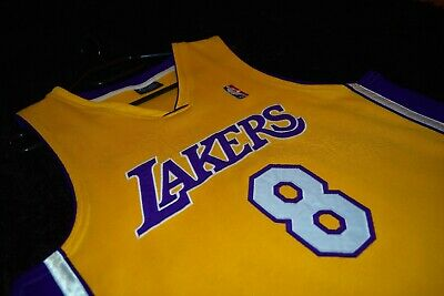 Jersey Authentic Kobe Bryant Los Angeles Lakers Champion Men Size L #8 Yellow