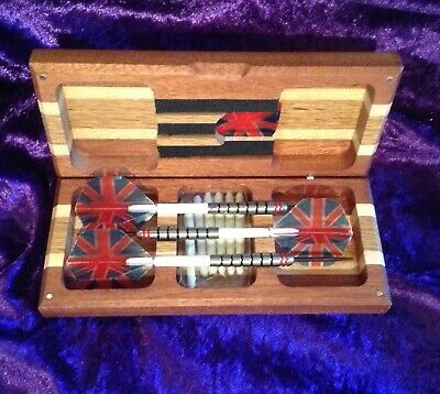 PERSONALISED OAK DARTS CASE FOR FULLY ASSEMBLED DARTS WITH MAGNETIC CLOSURE
