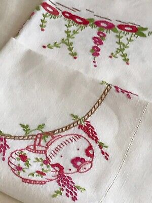 Antique Linen Tablecloth, Hand-Embroidered Hollyhocks, Lanterns, Wisteria