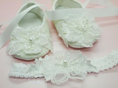 Baby Girls Ivory Lace Shoes - Christening Shoes - Chiffon Flower Headband Set
