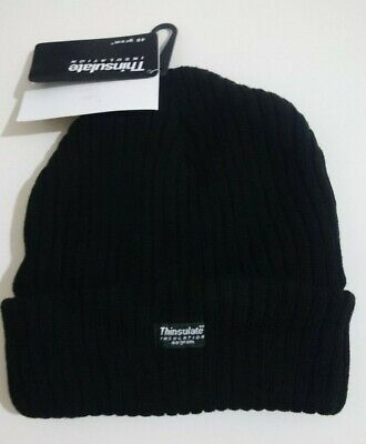 Mens Womens Black Thinsulate insulation Knitted Beanie Ribbed Hat 40G 12pack