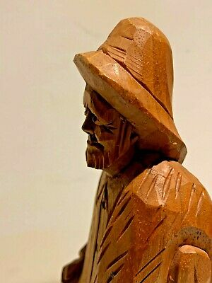 Vintage Wood Sculpture of an Old Man Fisherman, Folk Art