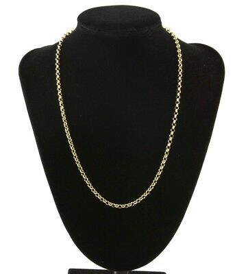 9ct Yellow Gold /& Silver Ladies 2mm Popcorn Chain Necklace 16 inch 2.3g