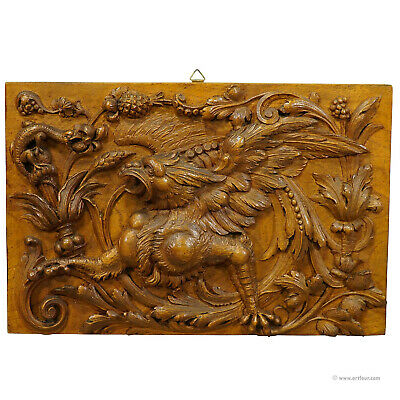 wooden carved panel with gargoyle and lizard, germany ca. 1920
