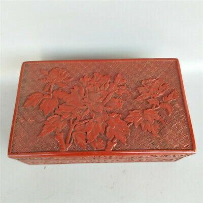 "9.45"" Exquisite Chinese Red lacquer ware Handmade carving peony Jewelry box"