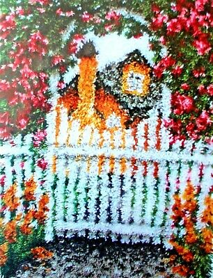 "Latch Hook Rug Scenic Making  Kit  ""Garden Gate"" By Caron"
