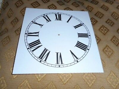 "Square Paper (Card) Clock Dial - 7"" M/T - Roman - MATT WHITE - Parts/Spares"