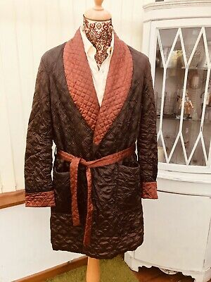 Vtg Quilted  Smoking Jacket Dressing Gown  Robe L William Dixon Med 42C