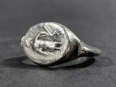 Ancient Roman Silver Senatorial Ring With Serpent Around Staff Circa 100-300Ad