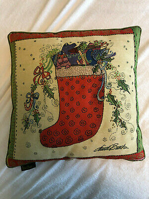Vintage Laurel Burch Christmas Stocking Cat Throw Pillow