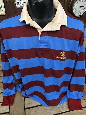 Vintage Aston Villa Home Rugby Shirt Size Large Long Sleeves Retro Rare AVFC