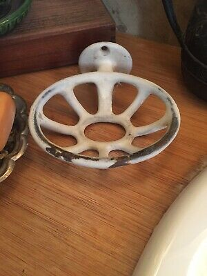 Antique PORCELAIN CAST IRON Wall Mount SOAP DISH Holder VTG White SHABBY Chic 4""