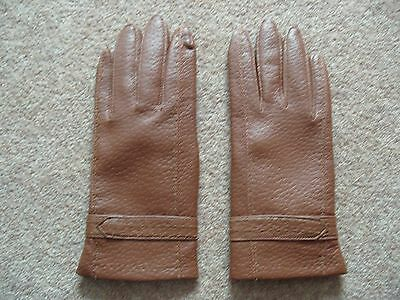 Ladies Vintage Faux Leather Tan Brown Gloves Lined Medium