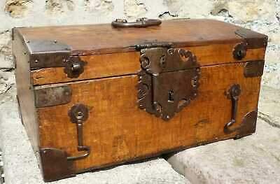 Rare Original 17th Century Oak And Iron Bound Box Casket c1650
