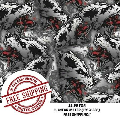 """Hydrographic Water Transfer Hydro Dip Film White Wolf 1M (19"""" X 38"""")"""