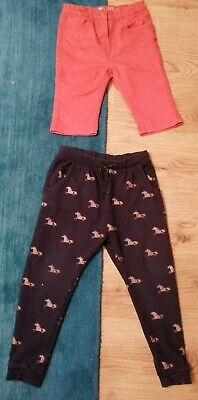 Girl's 2x Trousers. Soft NEXT Horse Joggers And Red Crops. Age 8