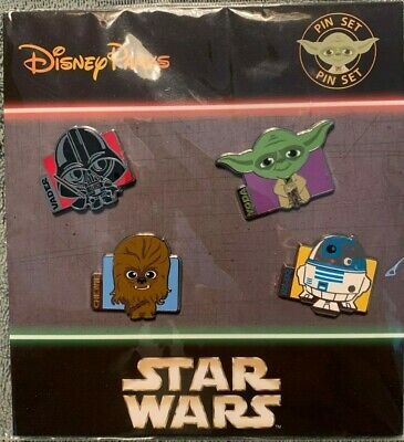 Disney Parks Pins Star Wars 4 pin Booster Pack Trading Pin Set NEW Cuties Cute
