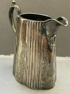 Art Deco Milk Jug EPNS Bros Silver Plated Scalloped Vintage Floral Natural
