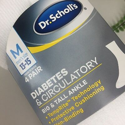 Dr. Scholls Mens Big Tall 13-15 ankle 4 Pack Diabetes Circulatory White Sock New