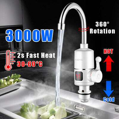 3kw Electric Instant Faucet Tap Cold Hot Water Fast Heater LED Display Kitchen