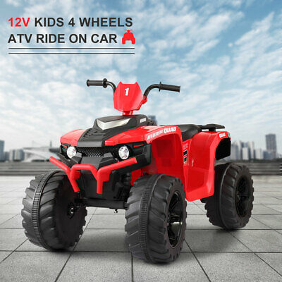 12V Kid Ride On ATV 4 Wheels Electric Powered Car Toy W/ Music Light Red