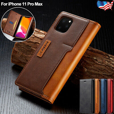 For iPhone 11 Pro Max Leather Flip Wallet Card Slot Case Magnetic Stand Cover US
