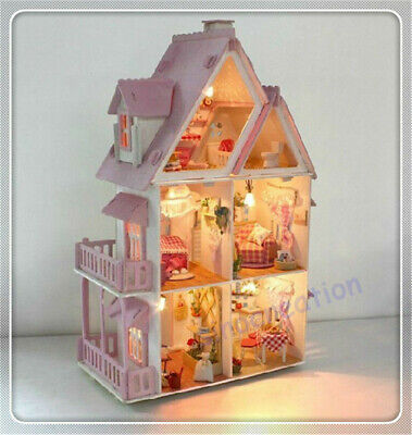 Kids Large Wooden Doll House Barbie Kit Girls Play Dollhouse Mansion Furniture