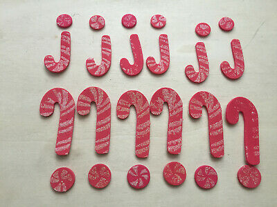 30 x Glitter Foam Candy Cane & Candy Stickers ~ Great for card making