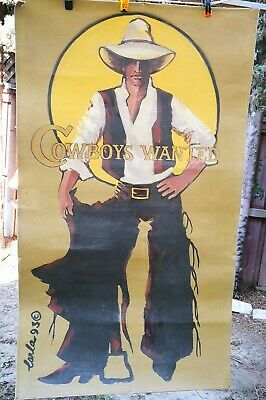 "Large Vintage Canvas Oil Painting ""Cowboy Wanted"" 35"" Wide 60"" Tall by Carla 93"