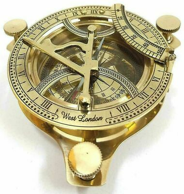 Solid Brass Sundial Working Compass Handmade Nautical Navigation Compass Gift