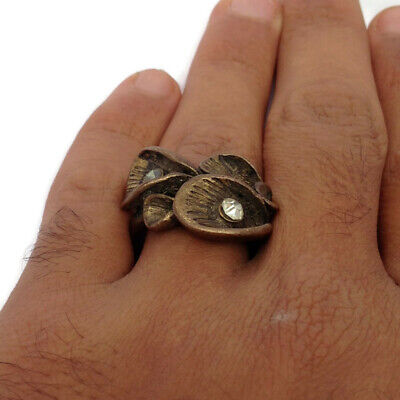 Ancient Bronze Ring Antique Artifact Vintage With Stones Extremely Rare