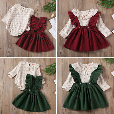 UK Infant Baby Girls Kid Ruffles Dotted Romper + Strap Dress Outfit Clothes Sets