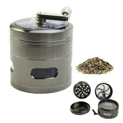 """New Handle Mill Grinder 4 Layer 2.5"""" Herb Tobacco Spice Crusher Metal Storage AS"""