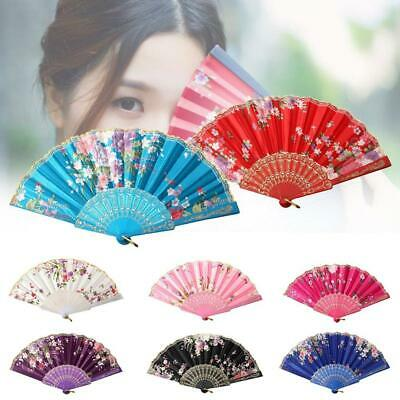 Chinese Lace Silk Flower Folding Hand Held Dance Fan Party Wedding Gift AS