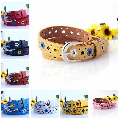 Baby Kids Girls Candy Color Waistband Strap Hollow Flower Buckle Belt PU Leather