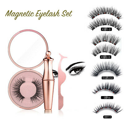 Magnetic liquid Eyeliner magnets False Eyelashes Tweezer Easy Wear Lashes Set