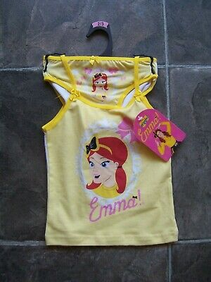BNWT Girl's The Wiggles Emma Singlet & Undies/Briefs Set Size 2-3 & 3-4