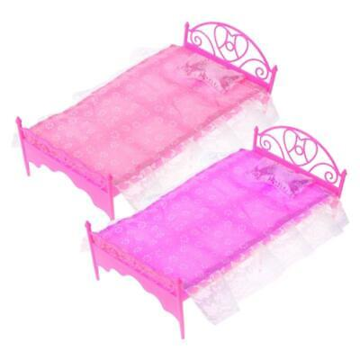 Pink Mini Bed With Pillow For Barbie Dolls Dollhouse Bedroom Furniture Toy