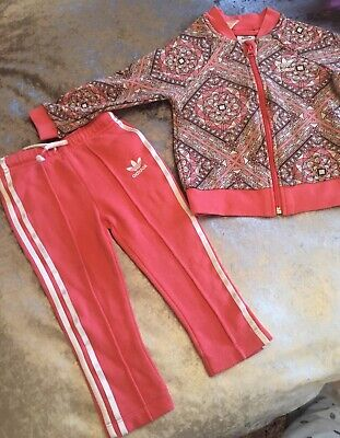 Adidas Girls Tracksuit Set 18-24 Months Coral Used Excellent Condition. Pink