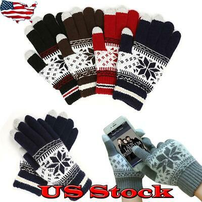 Snow Wool Gloves Knitted Cycling Winter Men/Women Touch Screen Autumn Thick US
