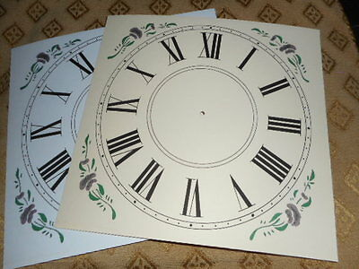 "Ogee Wall/Shelf Paper (Card) Clock Dial - 7 1/4"" M/T- Floral- MATT CREAM -Parts"